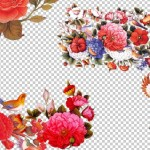 مجموعه تصاویر گل و مرغ اسلیمی ایرانی لایه باز فرمت PSD و PNG